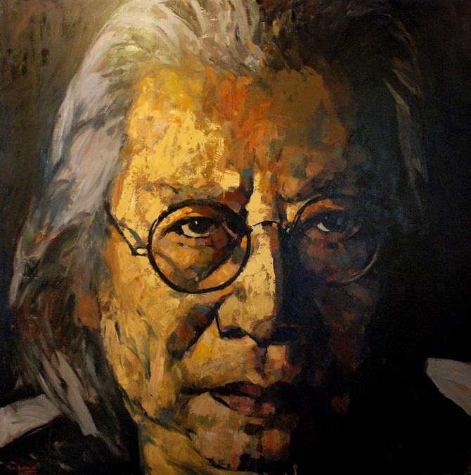 Fu Hong self portrait 183 x 183cm oil on canvas